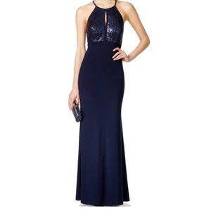 NWT Xscape Midnight Blue Maxi Sequins Dress 4